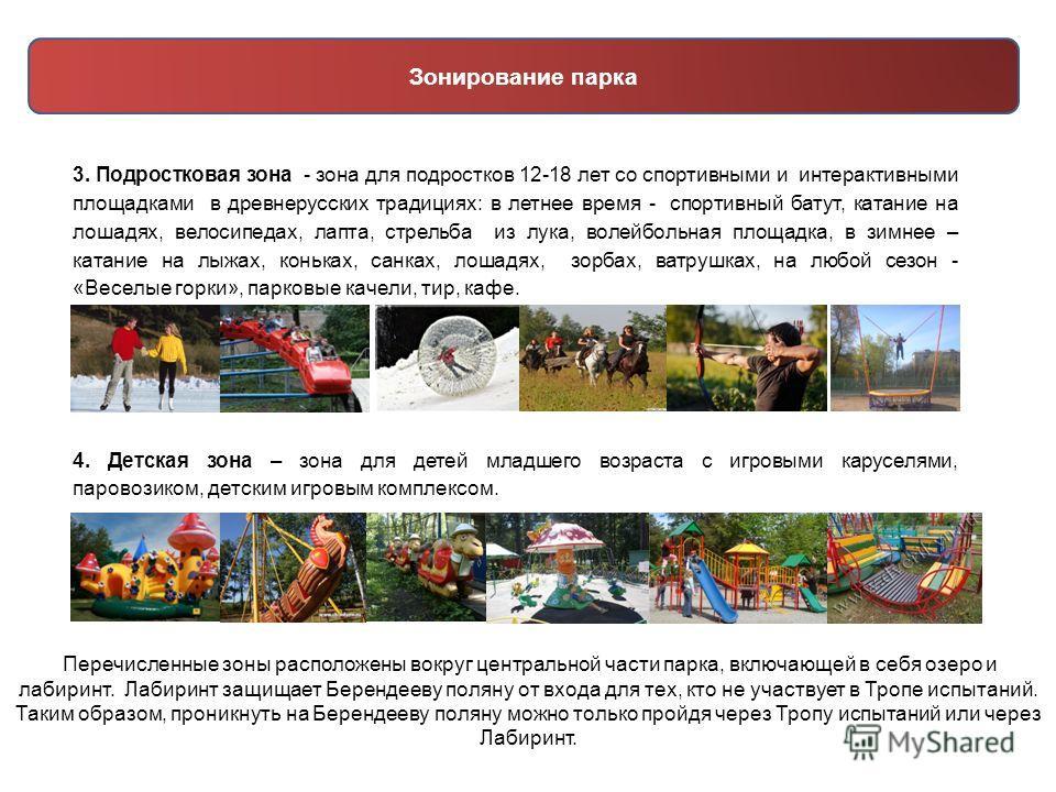 3. Подростковая зона - зона для подростков 12-18 лет со спортивными и интерактивными площадками в древнерусских традициях: в летнее время - спортивный батут, катание на лошадях, велосипедах, лапта, стрельба из лука, волейбольная площадка, в зимнее –
