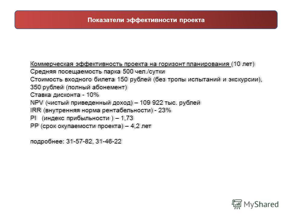 Коммерческая эффективность проекта на горизонт планирования (10 лет) Средняя посещаемость парка 500 чел./сутки Стоимость входного билета 150 рублей (без тропы испытаний и экскурсии), 350 рублей (полный абонемент) Ставка дисконта - 10% NPV (чистый при