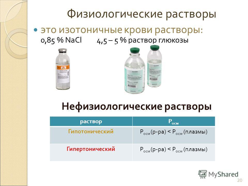 Физиологические растворы это изотоничные крови растворы : 0,85 % NaCl 4,5 – 5 % раствор глюкозы Нефизиологические растворы 20 растворР осм ГипотоническийР осм ( р - ра ) < Р осм ( плазмы ) ГипертоническийР осм ( р - ра ) < Р осм ( плазмы )