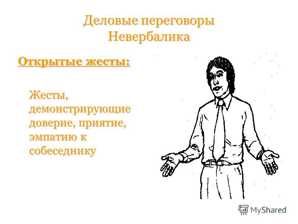 Деловые переговоры Невербалика Открытые жесты: Жесты, демонстрирующие доверие, приятие, эмпатию к собеседнику Жесты, демонстрирующие доверие, приятие, эмпатию к собеседнику