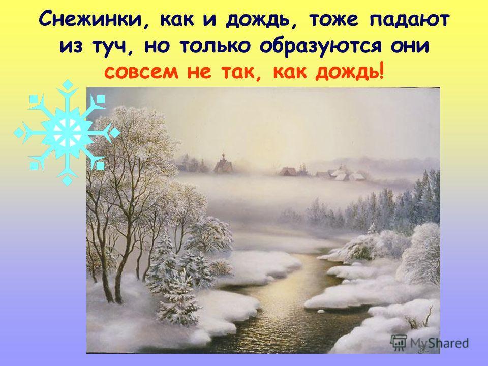 Снежинки, как и дождь, тоже падают из туч, но только образуются они совсем не так, как дождь!