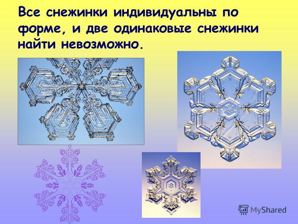 Все снежинки индивидуальны по форме, и две одинаковые снежинки найти невозможно.