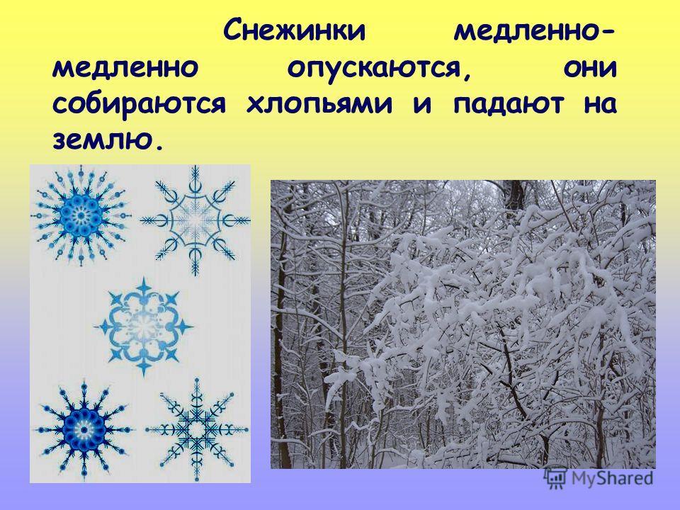 Снежинки медленно- медленно опускаются, они собираются хлопьями и падают на землю.