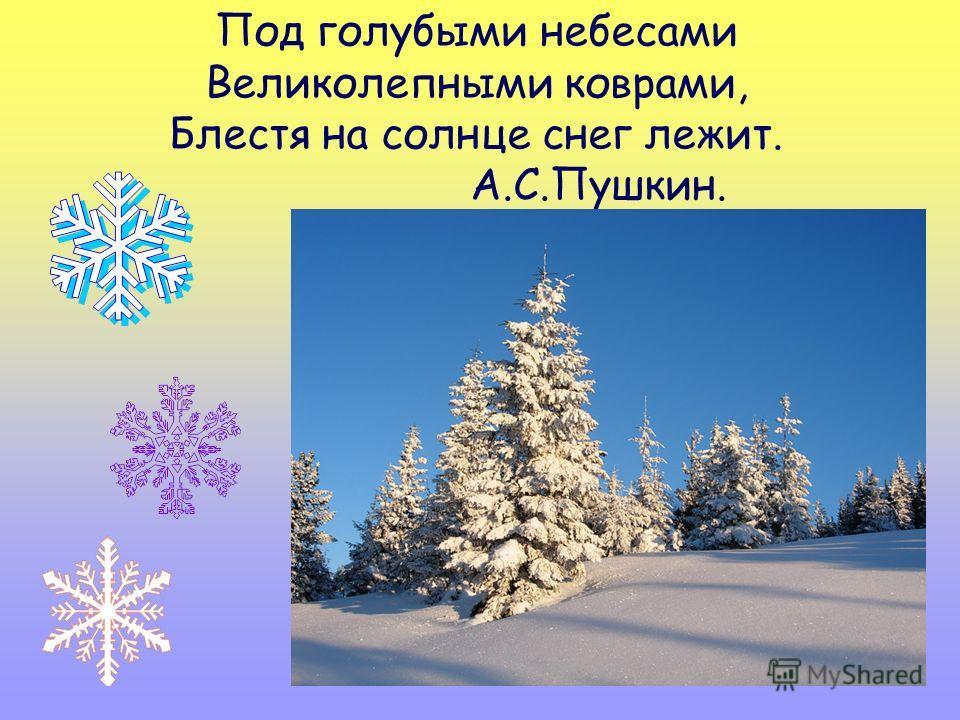 Под голубыми небесами Великолепными коврами, Блестя на солнце снег лежит. А.С.Пушкин.