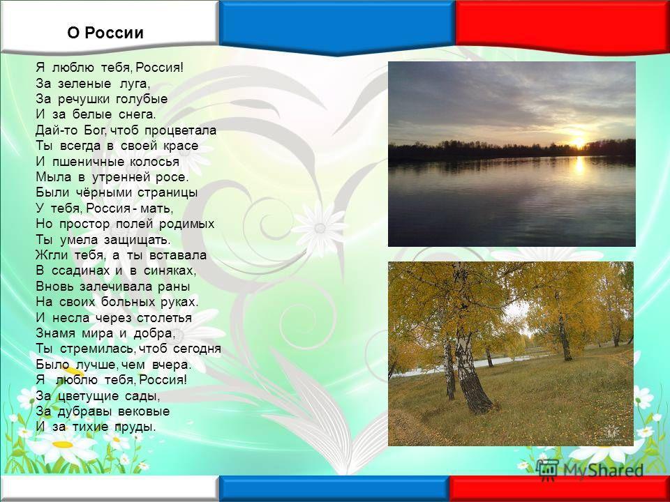 Я люблю тебя, Россия! За зеленые луга, За речушки голубые И за белые снега. Дай-то Бог, чтоб процветала Ты всегда в своей красе И пшеничные колосья Мыла в утренней росе. Были чёрными страницы У тебя, Россия - мать, Но простор полей родимых Ты умела з