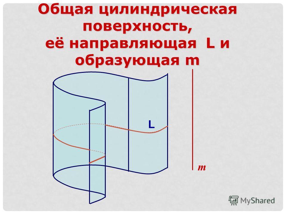 L m Общая цилиндрическая поверхность, её направляющая L и образующая m