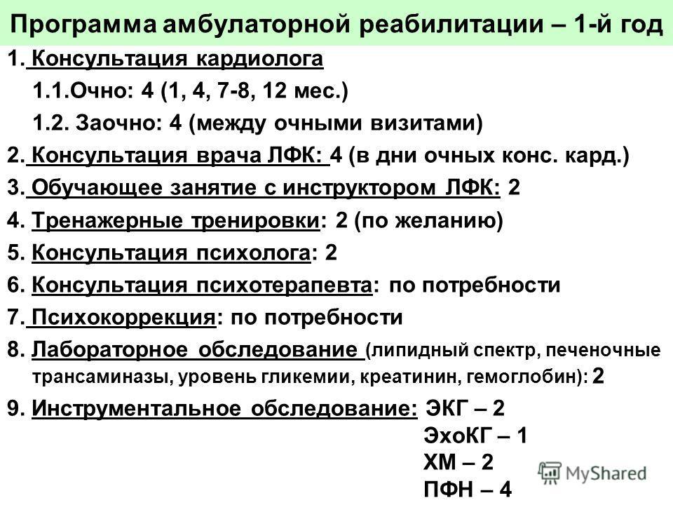 Программа амбулаторной реабилитации – 1-й год 1. Консультация кардиолога 1.1.Очно:4 (1, 4, 7-8, 12 мес.) 1.2. Заочно: 4 (между очными визитами) 2. Консультация врача ЛФК: 4 (в дни очных конс. кард.) 3. Обучающее занятие с инструктором ЛФК: 2 4. Трена