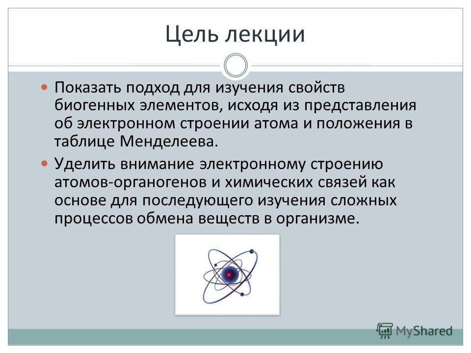 Показать подход для изучения свойств биогенных элементов, исходя из представления об электронном строении атома и положения в таблице Менделеева. У делить внимание электронному строению атомов-органогенов и химических связей как основе для последующе