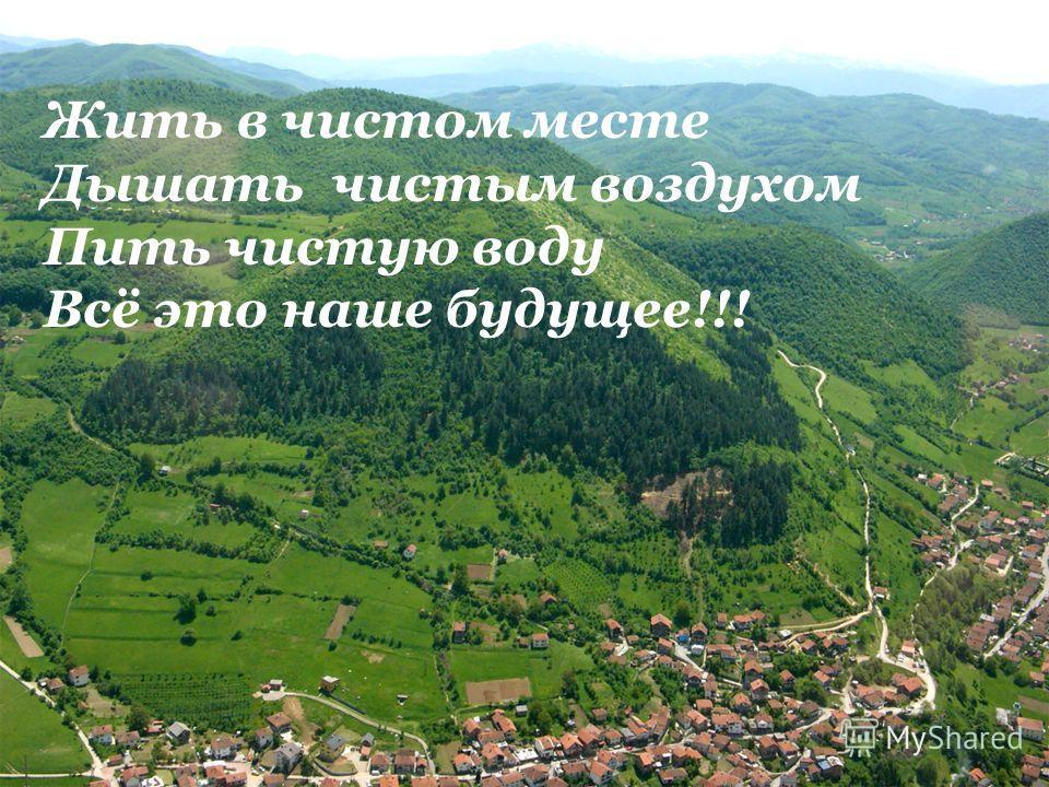 Жить в чистом месте Дышать чистым воздухом Пить чистую воду Всё это наше будущее!!!