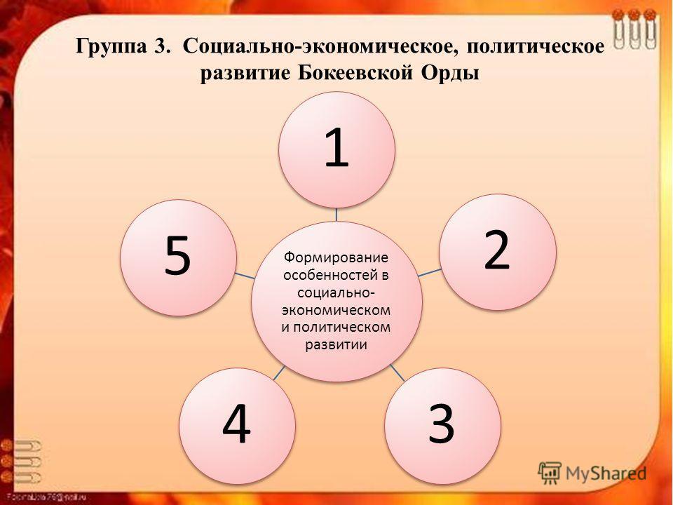 Группа 3. Социально-экономическое, политическое развитие Бокеевской Орды Формирование особенностей в социально- экономическом и политическом развитии 12345