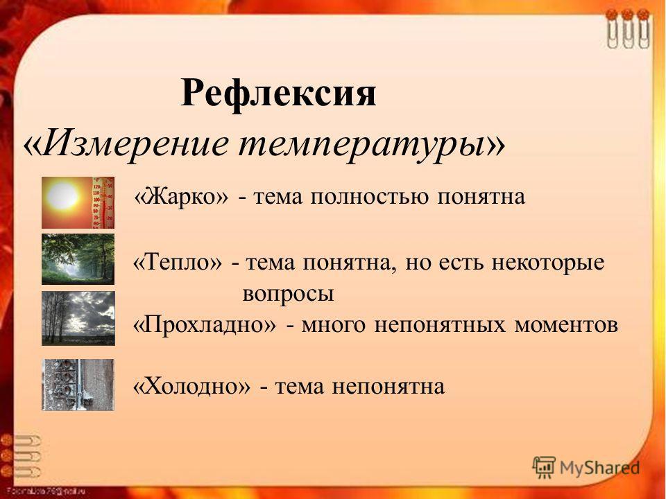 Рефлексия «Измерение температуры» «Жарко» - тема полностью понятна «Тепло» - тема понятна, но есть некоторые вопросы «Прохладно» - много непонятных моментов «Холодно» - тема непонятна