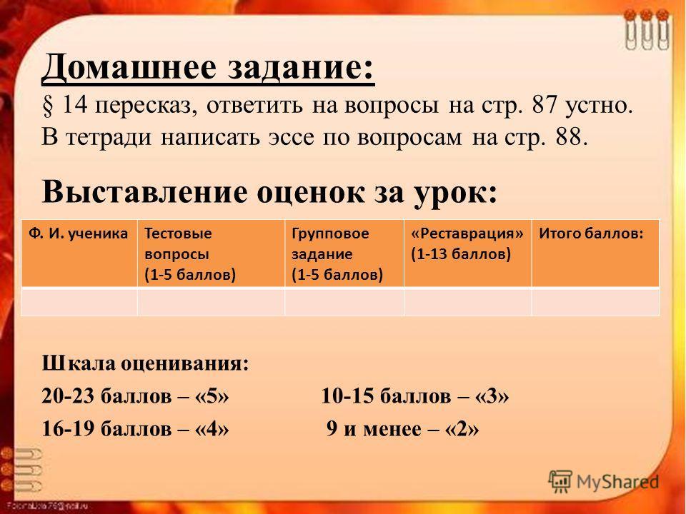 Домашнее задание: § 14 пересказ, ответить на вопросы на стр. 87 устно. В тетради написать эссе по вопросам на стр. 88. Выставление оценок за урок: Шкала оценивания: 20-23 баллов – «5» 10-15 баллов – «3» 16-19 баллов – «4» 9 и менее – «2» Ф. И. ученик