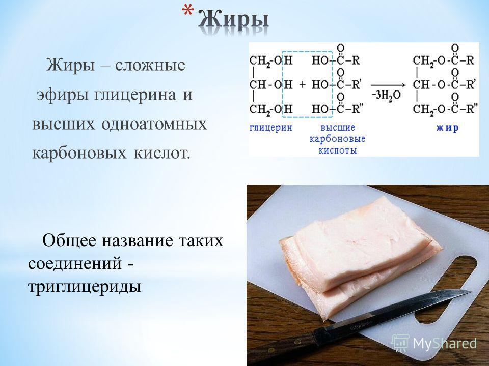 Жиры – сложные эфиры глицерина и высших одноатомных карбоновых кислот. Общее название таких соединений - триглицериды