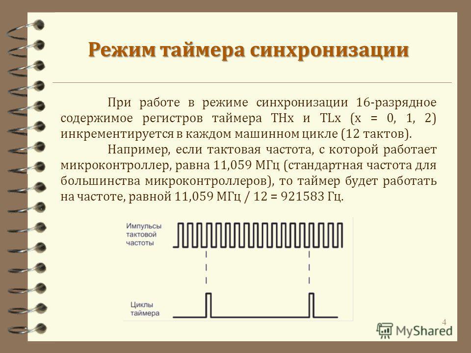4 Режим таймера синхронизации При работе в режиме синхронизации 16-разрядное содержимое регистров таймера THx и TLx (x = 0, 1, 2) инкрементируется в каждом машинном цикле (12 тактов). Например, если тактовая частота, с которой работает микроконтролле