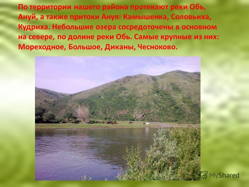 По территории нашего района протекают реки Обь, Ануй, а также притоки Ануя: Камышенка, Соловьиха, Кудриха. Небольшие озера сосредоточены в основном на севере, по долине реки Обь. Самые крупные из них: Мореходное, Большое, Диканы, Чесноково.