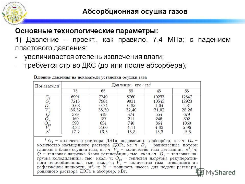 Абсорбционная осушка газов Основные технологические параметры: 1) Давление – проект., как правило, 7,4 МПа; с падением пластового давления: -увеличивается степень извлечения влаги; -требуется стр-во ДКС (до или после абсорбера);