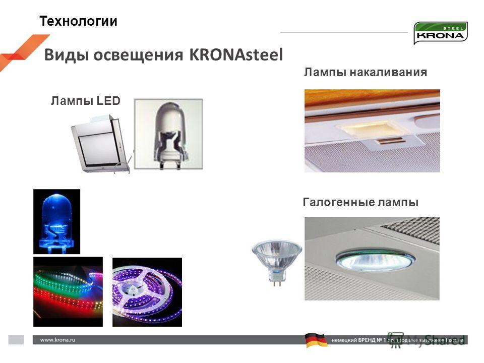 Виды освещения KRONAsteel Лампы накаливания Лампы LED Галогенные лампы