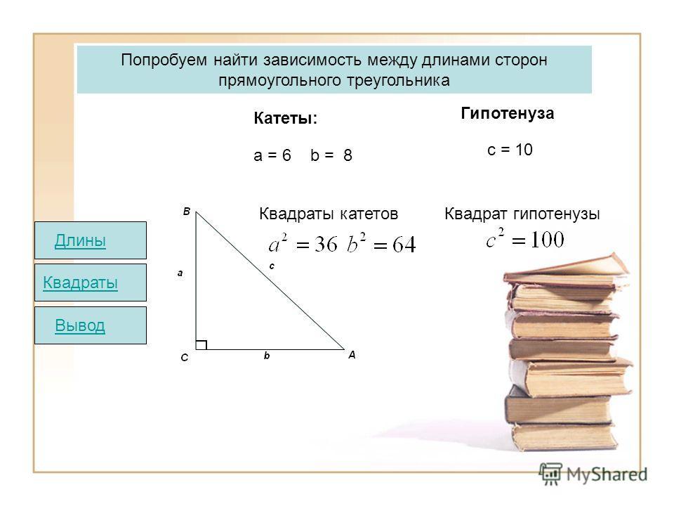 Квадраты катетов Квадрат гипотенузы Попробуем найти зависимость между длинами сторон прямоугольного треугольника Катеты: Гипотенуза а = 6 b = 8 c = 10 Квадраты ВыводДлины