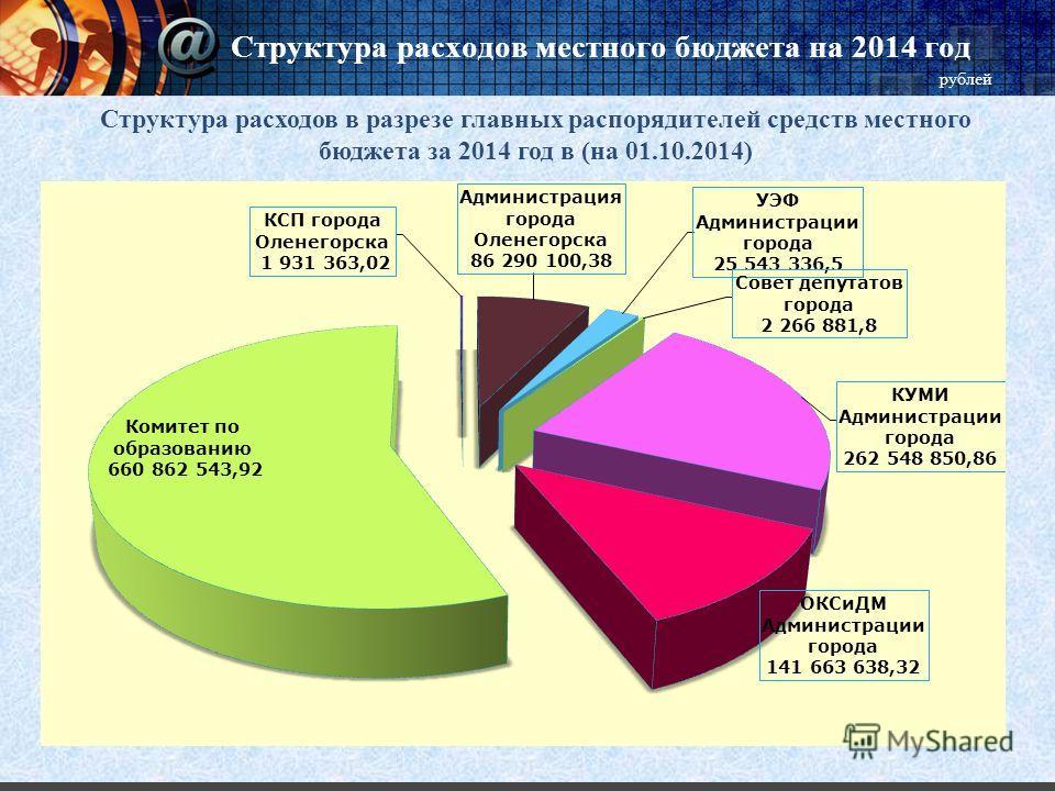 Структура расходов местного бюджета на 2014 год рублей Структура расходов в разрезе главных распорядителей средств местного бюджета за 2014 год в (на 01.10.2014)