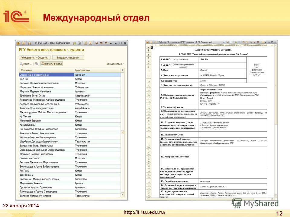 12 Международный отдел 22 января 2014 http://it.rsu.edu.ru/