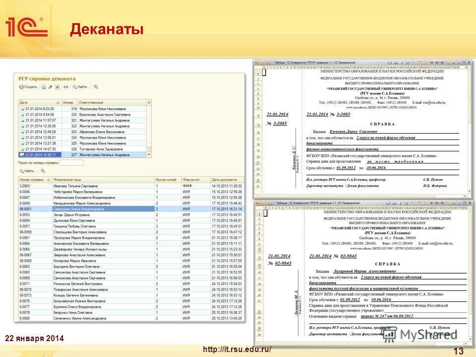 13 Деканаты 22 января 2014 http://it.rsu.edu.ru/