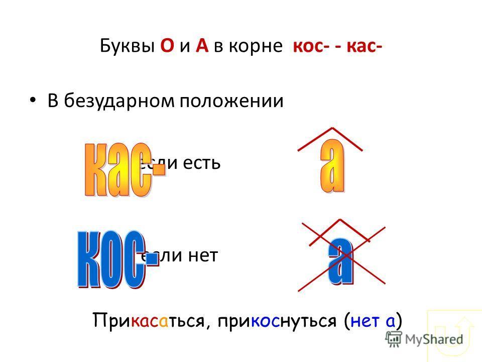 Буквы О и А в корне кос- - кас- В безударном положении если есть если нет Прикасатися, прикоснуться (нет а)
