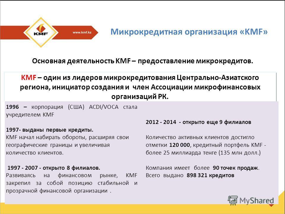 Микрокредитная организация «KMF» KMF – один из лидеров микрокредитования Центрально-Азиатского региона, инициатор создания и член Ассоциации микрофинансовых организаций РК. Основная деятельность KMF – предоставление микрокредитов. 1996 – корпорация (