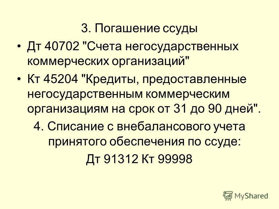 3. Погашение ссуды Дт 40702