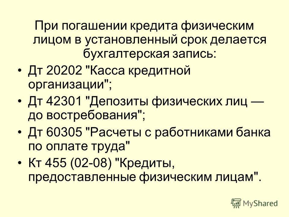 При погашении кредита физическим лицом в установленный срок делается бухгалтерская запись: Дт 20202