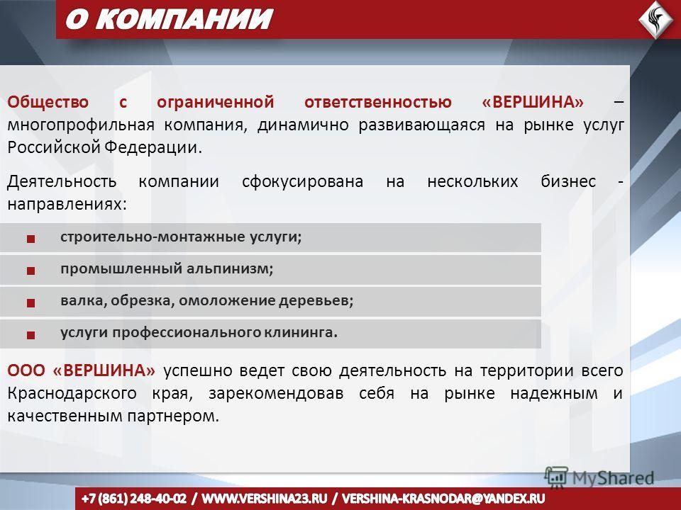 Общество с ограниченной ответственностью «ВЕРШИНА» – многопрофильная компания, динамично развивающаяся на рынке услуг Российской Федерации. Деятельность компании сфокусирована на нескольких бизнес - направлениях: строительно-монтажные услуги; промышл