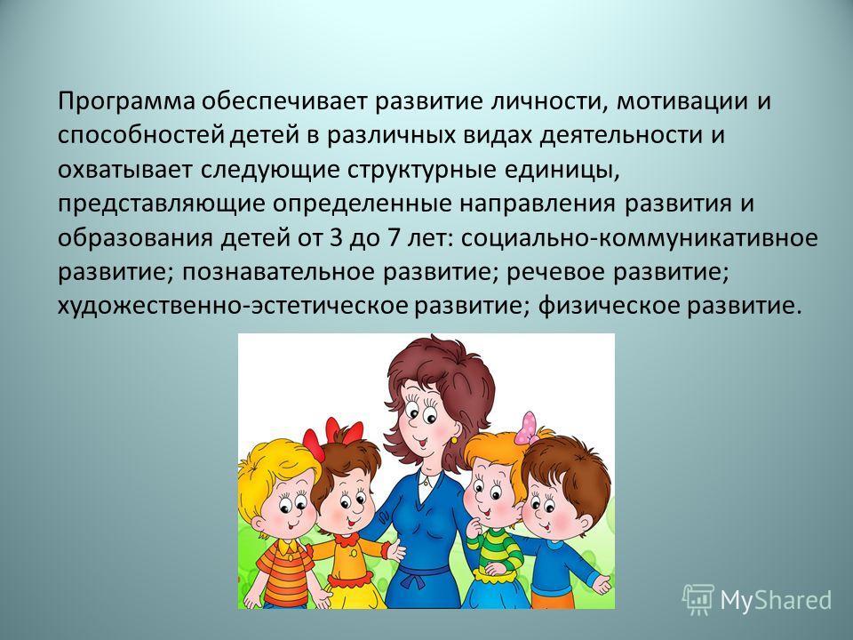 Программа обеспечивает развитие личности, мотивации и способностей детей в различных видах деятельности и охватывает следующие структурные единицы, представляющие определенные направления развития и образования детей от 3 до 7 лет: социально-коммуник