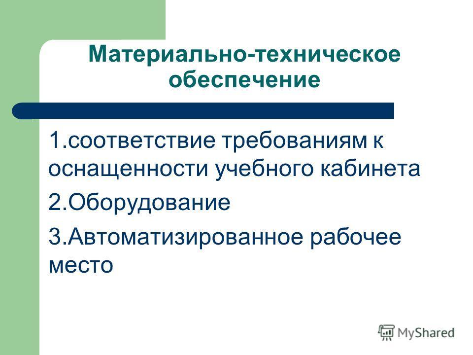 Материально-техническое обеспечение 1. соответствие требованиям к оснащенности учебного кабинета 2. Оборудование 3. Автоматизированное рабочее место