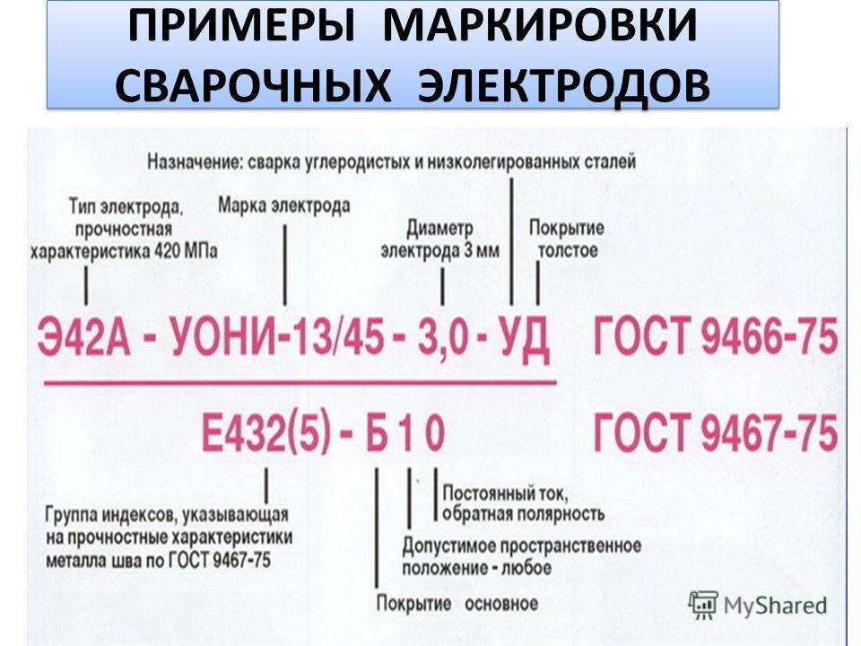 ПРИМЕРЫ МАРКИРОВКИ СВАРОЧНЫХ ЭЛЕКТРОДОВ
