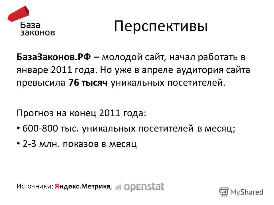 Перспективы База Законов.РФ – молодой сайт, начал работать в январе 2011 года. Но уже в апреле аудитория сайта превысила 76 тысяч уникальных посетителей. Прогноз на конец 2011 года: 600-800 тыс. уникальных посетителей в месяц; 2-3 млн. показов в меся