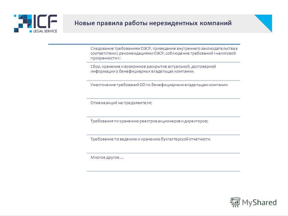 Новые правила работы нерезидентных компаний Следование требованиям ОЭСР, приведение внутреннего законодательства в соответствии с рекомендациями ОЭСР, соблюдение требований «налоговой прозрачности»; Сбор, хранение и возможное раскрытие актуальной, до