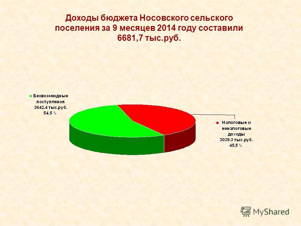 Доходы бюджета Носовского сельского поселения за 9 месяцев 2014 году составили 6681,7 тыс.руб.