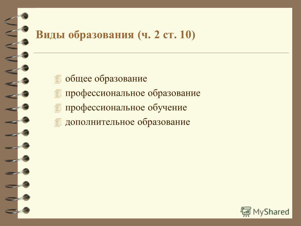 Виды образования (ч. 2 ст. 10) 4 общее образование 4 профессиональное образование 4 профессиональное обучение 4 дополнительное образование