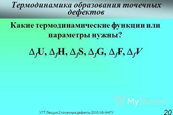 ХТТ Лекция 2 точечные дефекты 2010 ХФ ННГУ 20 Термодинамика образования точечных дефектов Какие термодинамические функции или параметры нужны? f U, f H, f S, f G, f F, f V