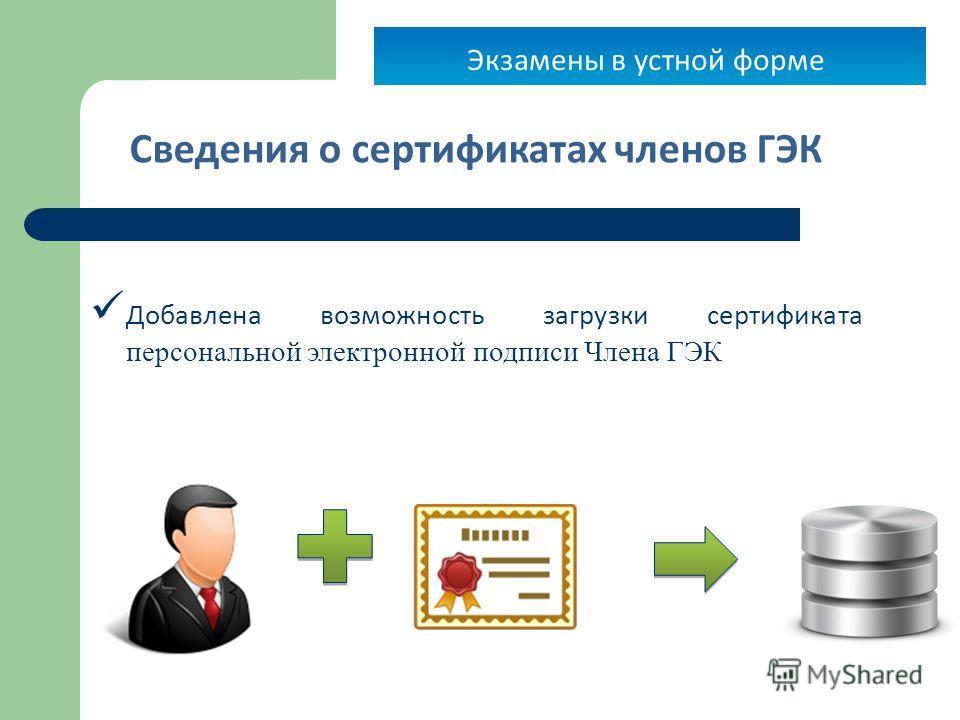22 Сведения о сертификатах членов ГЭК Добавлена возможность загрузки сертификата персональной электронной подписи Члена ГЭК Экзамены в устной форме