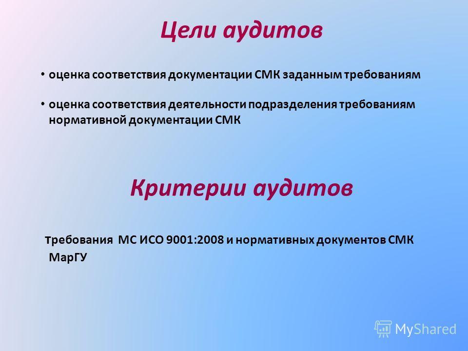 Цели аудитов оценка соответствия документации СМК заданным требованиям оценка соответствия деятельности подразделения требованиям нормативной документации СМК Критерии аудитов требования МС ИСО 9001:2008 и нормативных документов СМК МарГУ