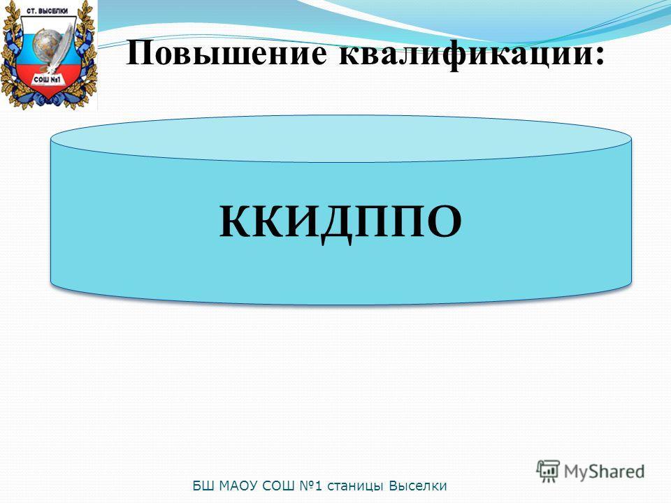 Повышение квалификации: ККИДППО БШ МАОУ СОШ 1 станицы Выселки