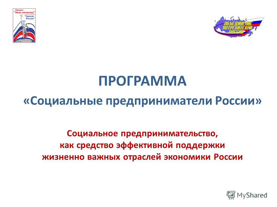 ПРОГРАММА «Социальные предприниматели России» Социальное предпринимательство, как средство эффективной поддержки жизненно важных отраслей экономики России