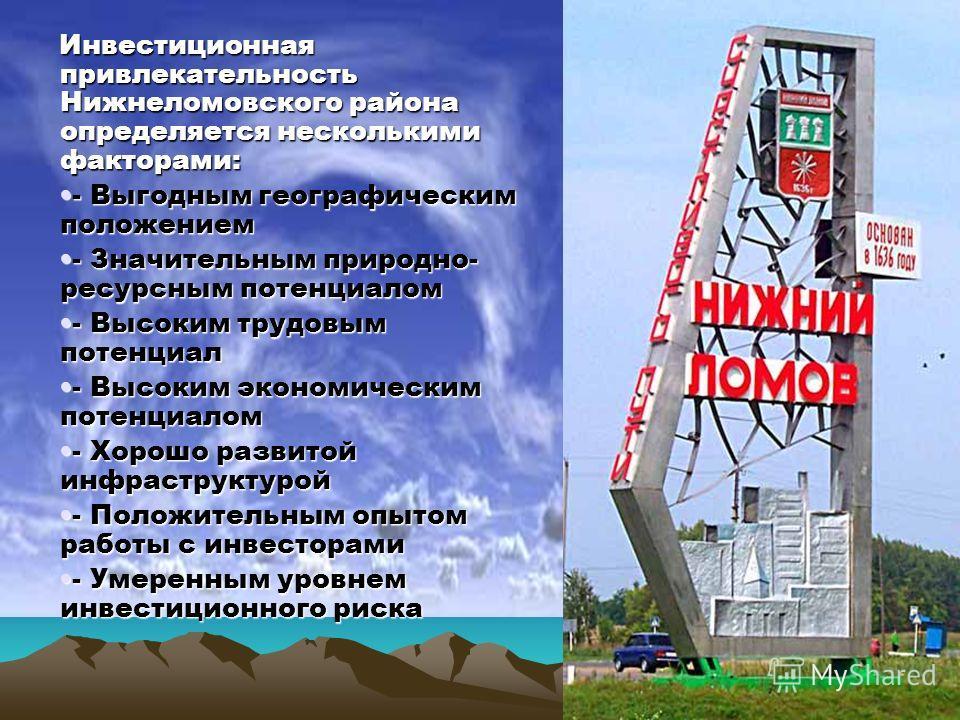 Инвестиционная привлекательность Нижнеломовского района определяется несколькими факторами: - Выгодным географическим положением- Выгодным географическим положением - Значительным природно- ресурсным потенциалом- Значительным природно- ресурсным поте