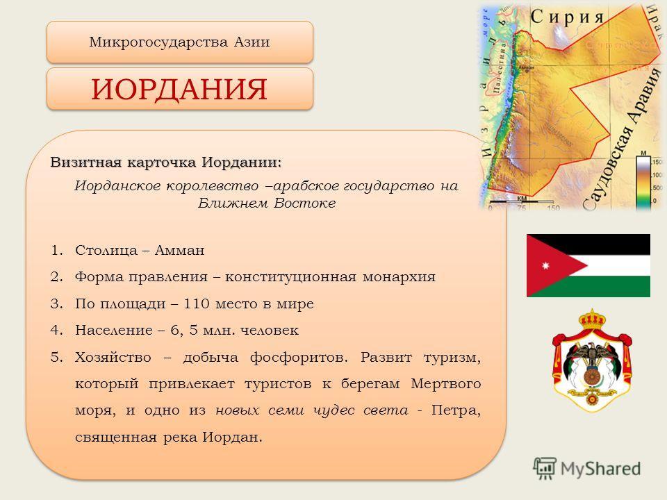 Визитная карточка Иордании: Иорданское королевство –арабское государство на Ближнем Востоке 1. Столица – Амман 2. Форма правления – конституционная монархия 3. По площади – 110 место в мире 4. Население – 6, 5 млн. человек 5. Хозяйство – добыча фосфо