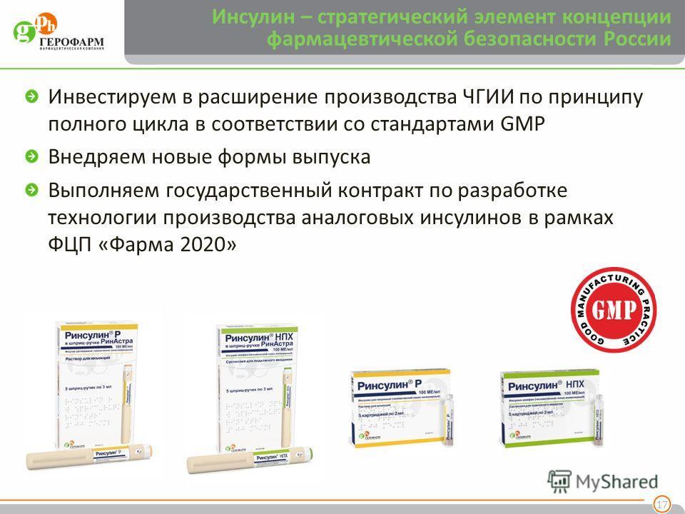 Инвестируем в расширение производства ЧГИИ по принципу полного цикла в соответствии со стандартами GMP Внедряем новые формы выпуска Выполняем государственный контракт по разработке технологии производства аналоговых инсулинов в рамках ФЦП «Фарма 2020