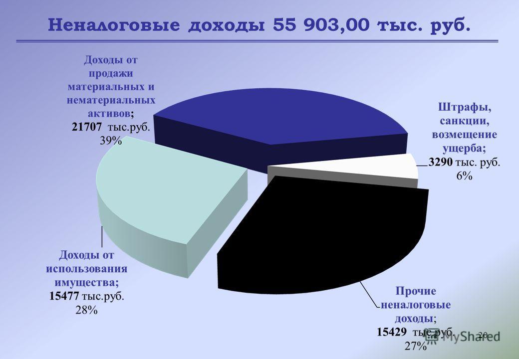 20 Неналоговые доходы 55 903,00 тыс. руб.