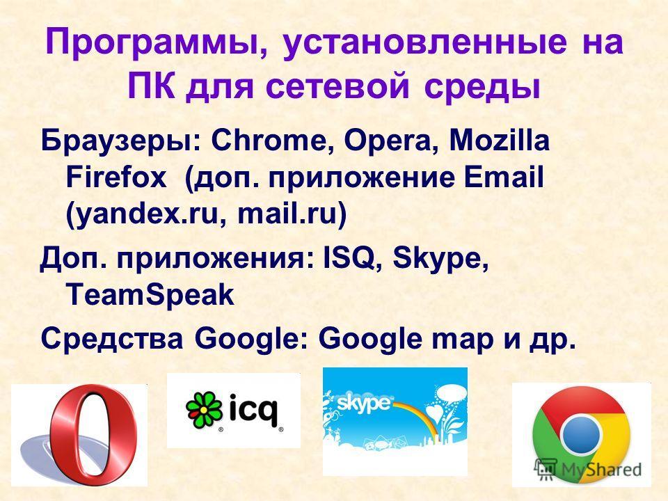 Программы, установленные на ПК для сетевой среды Браузеры: Chrome, Opera, Mozilla Firefox (доп. приложение Email (yandex.ru, mail.ru) Доп. приложения: ISQ, Skype, TeamSpeak Средства Google: Google map и др.