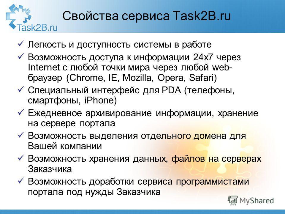 Свойства сервиса Task2B.ru Легкость и доступность системы в работе Возможность доступа к информации 24 х 7 через Internet с любой точки мира через любой web- браузер (Chrome, IE, Mozilla, Opera, Safari) Специальный интерфейс для PDA (телефоны, смартф