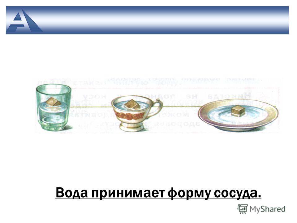 Вода принимает форму сосуда.