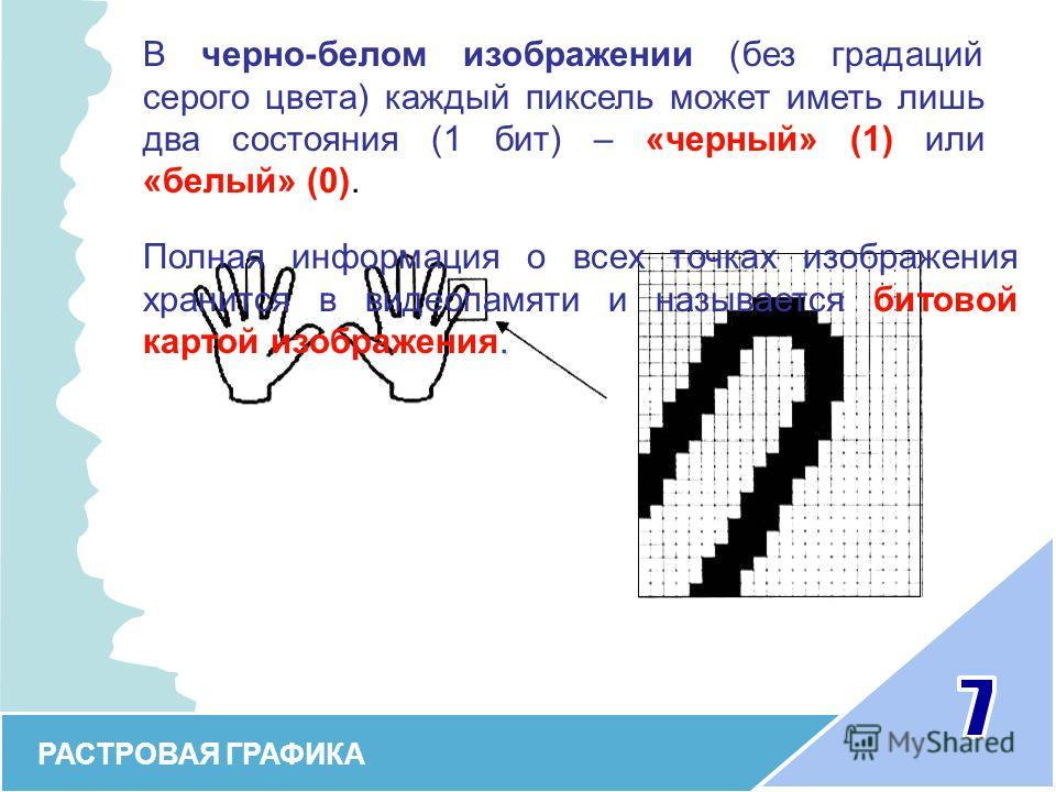 РАСТРОВАЯ ГРАФИКА В черно-белом изображении (без градаций серого цвета) каждый пиксель может иметь лишь два состояния (1 бит) – «черный» (1) или «белый» (0).. Полная информация о всех точках изображения хранится в видеопамяти и называется битовой кар